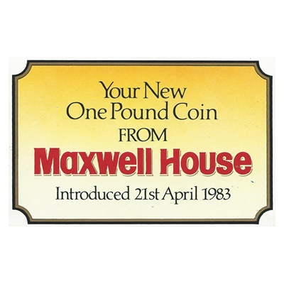 1983 UK BU £1 Coin – The Royal Arms – Maxwell House