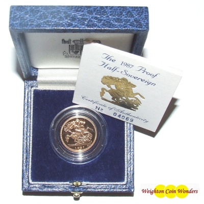 1987 Gold Proof 1/2 Sovereign