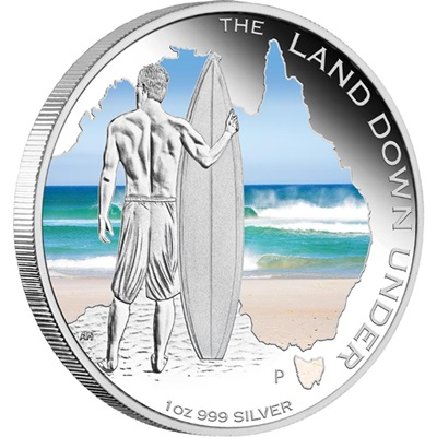 The Land Down Under – 2013 1oz Silver Proof- SURFING