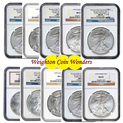 10 x 1oz Silver EAGLE - NGC MS 69