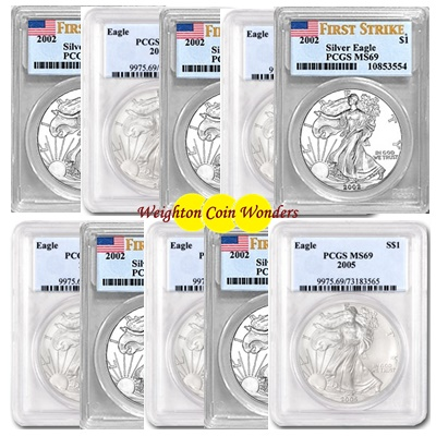 10 x 1oz Silver EAGLE - PCGS MS 69