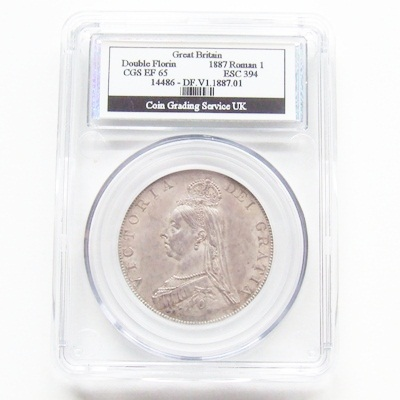 1887 Victoria JH Silver DOUBLE FLORIN - CGS EF 65