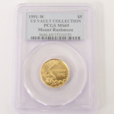 1991-W Gold $5 Commemorative - Mount Rushmore MS69