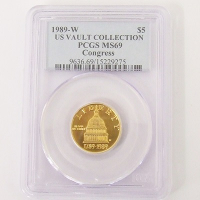 1989-W Gold $5 Commemorative - Congress MS69