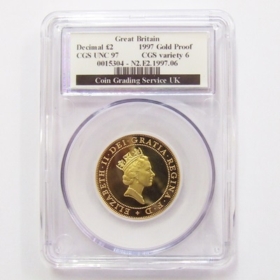 1997 QEII Gold Proof £2 Technology - CGS UNC 97