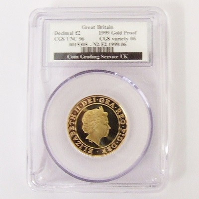 1999 QEII Gold Proof £2 Rugby - CGS UNC 96