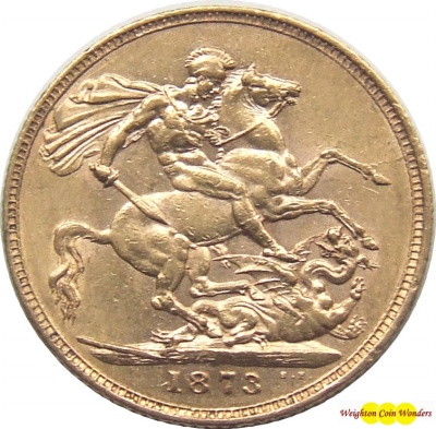 1873 Victoria (London) Gold Sovereign - Young Head