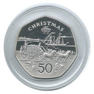 1980 Isle of Man Silver Proof Christmas 50p