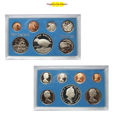 1982 New Zealand Proof Set - Inc Silver $1