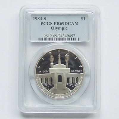 1984 USA Silver Proof $1 - Olympics PCGS PR69