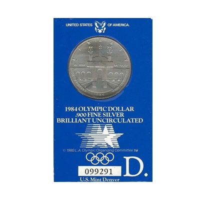 1984 US BU Silver Olympic Dollar – D Mint Mark