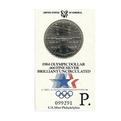 1984 US BU Silver Olympic Dollar – P Mint Mark
