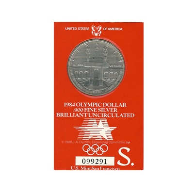 1984 US BU Silver Olympic Dollar – S Mint Mark