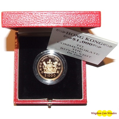1986 Hong Kong Gold Proof $1000 - Royal Visit