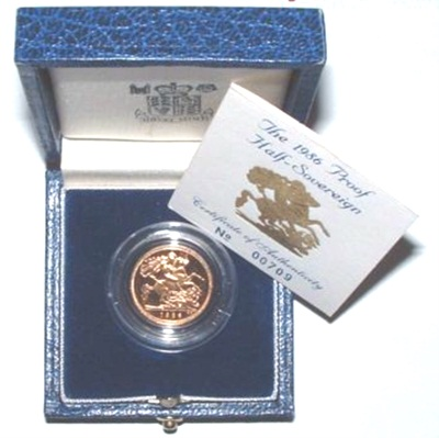 1986 Gold Proof 1/2 Sovereign