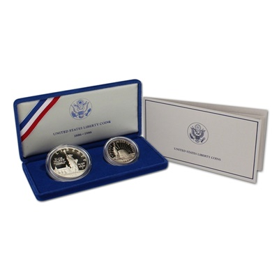 1986 Statue of Liberty 2-Coin Silver Proof Set