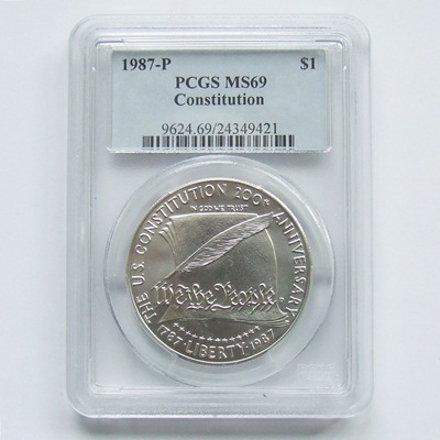 1987 USA Silver BU $1 - Constitution PCGS MS69