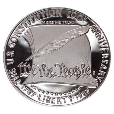 1987 US Constitution Bicentennial Silver Proof USA $1 (Capsule)