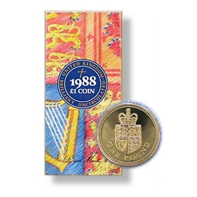 1988 BU English £1 Coin – Royal Coat of Arms - Presentation Pack