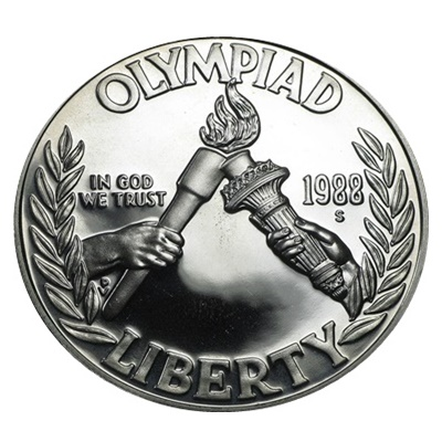 1988 US Olympic Games Silver Proof $1 (Capsule)