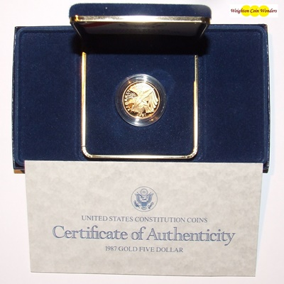1987 USA Gold Proof $5 Coin - CONSTITUTION