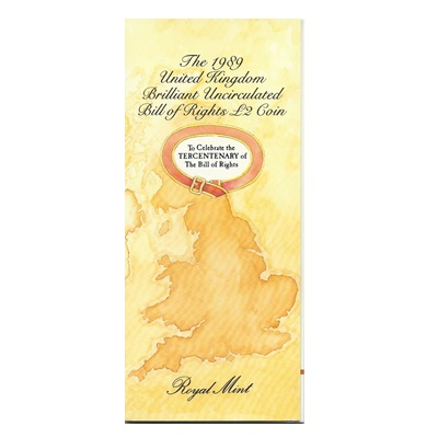 1989 UK BU £2 Coin Pack - Tercentenary The Bill of Rights