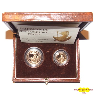1989 Gold Proof BRITANNIA 2 Coin Set