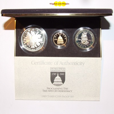 1989 USA $5, $1 & $1/2 3 Coin Set - CONGRESS