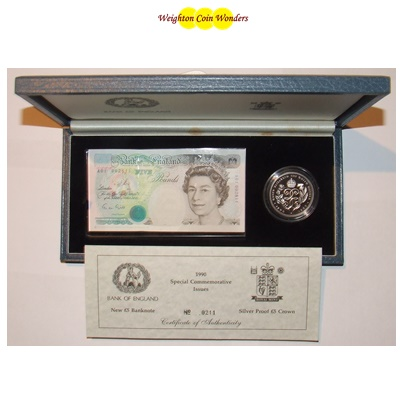 1990 £5 Note and Silver Proof £5 Crown - Queen Mother 90th