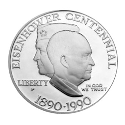 1990 Eisenhower Silver $1 - Click Image to Close