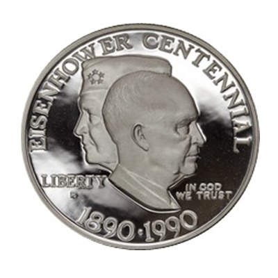 1990 Eisenhower Centennial Silver Proof USA $1 (Capsule)