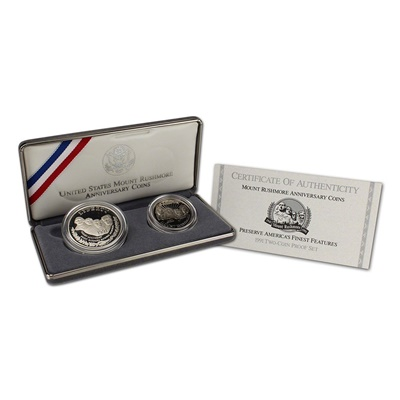 1991 Mount Rushmore Commemorative Two-Coin Silver Proof Set