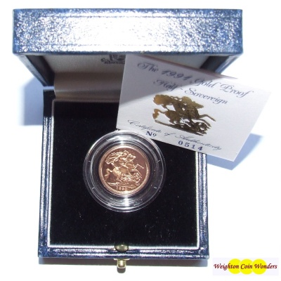 1991 Gold Proof ½ Sovereign