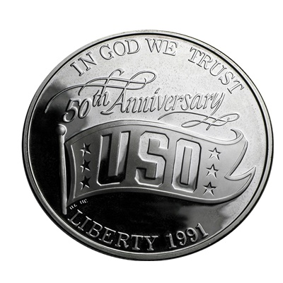 1991 USO 50th Anniversary Silver Proof $1 (Capsule)