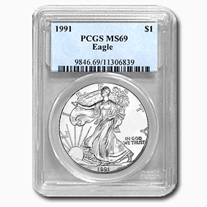 1991 1 oz USA Silver Eagle MS-69 PCGS