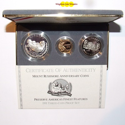 1991 USA $5, $1 & $1/2 3 Coin Set - MOUNT RUSHMORE