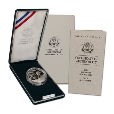 1991 Korean War Memorial Silver Proof $1