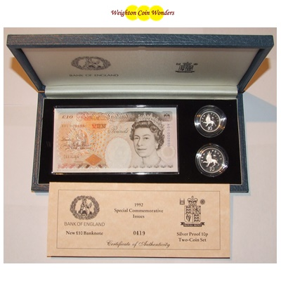 1992 £10 Note and Silver Proof 10p Two-Coin Set