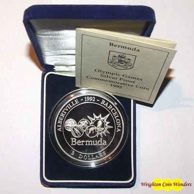 1992 Bermuda 5oz Silver Proof Coin - Olympic Games
