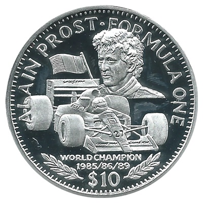 1992 Silver Proof $10 Alain Prost - Formula One