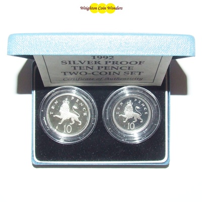 1992 Silver Proof Ten Pence Two-Coin Set