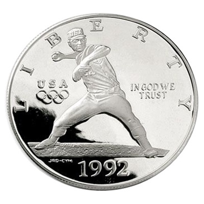 1992 Olympic (Baseball) Silver Proof USA $1 (Capsule)
