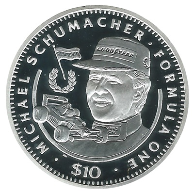 1992 Silver Proof $10 Michael Schumacher - Formula One