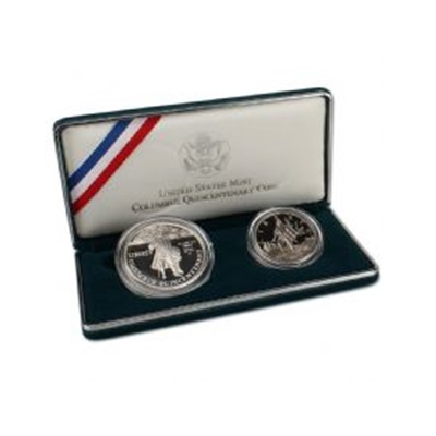 1992 Columbus Quincentenary 2-Coin Silver Proof Set