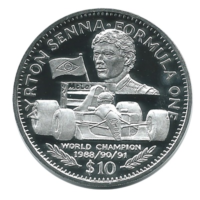 1992 Silver Proof $10 Ayrton Senna - Formula One
