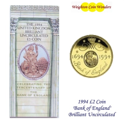 1994 BU £2 Coin Pack - Bank of England Tercentenary