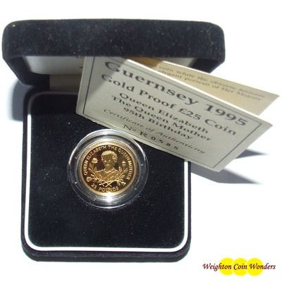 1995 Guernsey Gold Proof £25 Coin – Queen Mother 95th