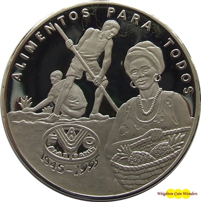 1995 Guinea-Bissau 20,000 Pesos Silver Proof Coin - FAO 50th