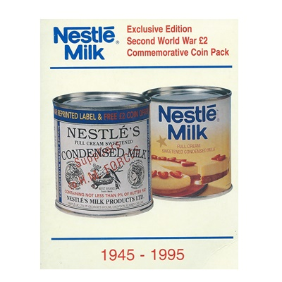 1995 BU £2 Coin Pack - WWII - Nestle Milk Promotion