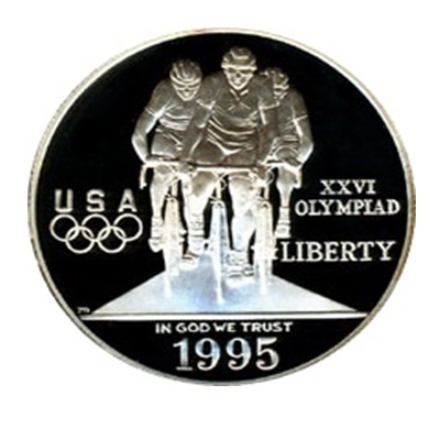 1995 Olympic Cycling Silver Proof $1 (Capsule)
